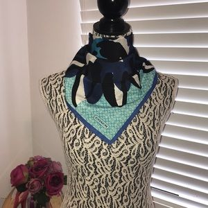 Coach Flower Multi Use Neck Scarf Blue/Turquoise